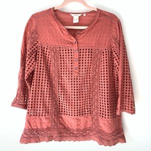 Sundance Boho Dusty Rose Eyelet Blouse Size Small
